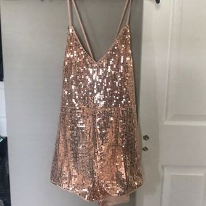 NWT Gold sequin Romper